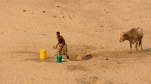 In the dry season one has to search for water